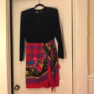 Dress with black top and silk skirt